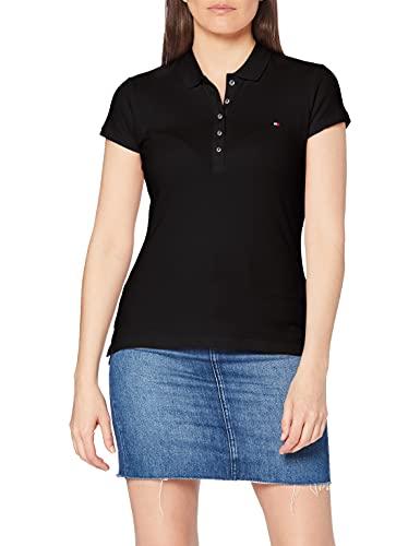 Tommy Hilfiger Heritage Short Sleeve Slim Polo, Negro (Masters Black 017), XX-Small para Mujer