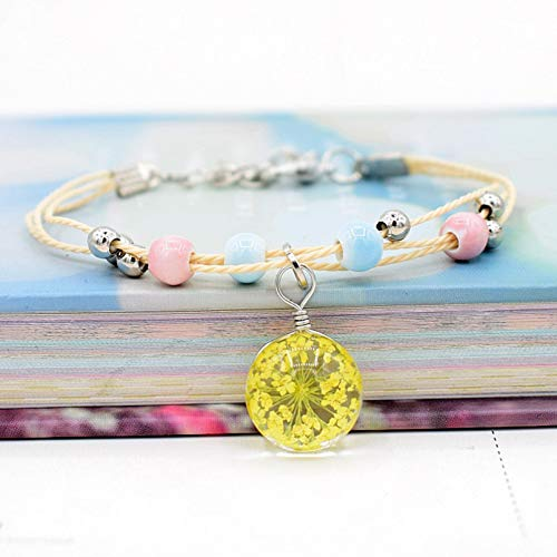 KUANGLANG Glass Ball Dried Flowers Charm Bracelets Ceramic Hand-Made Beaded Bangles For Women Girls Jewelry Gifts Accessories