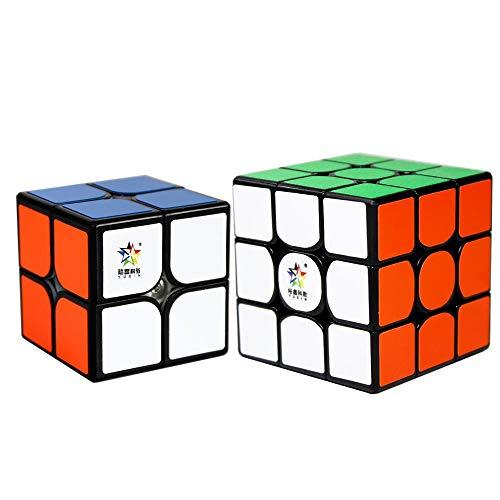 OJIN YuXin Little Magic Cube Bundle 2x2 3x3 Bright Cube Set Smooth Puzzle Sets-Pack de 2 Smooth Puzzle Cube 2x2x2 3x3x3, Colección Yuxin Cube (Negro)