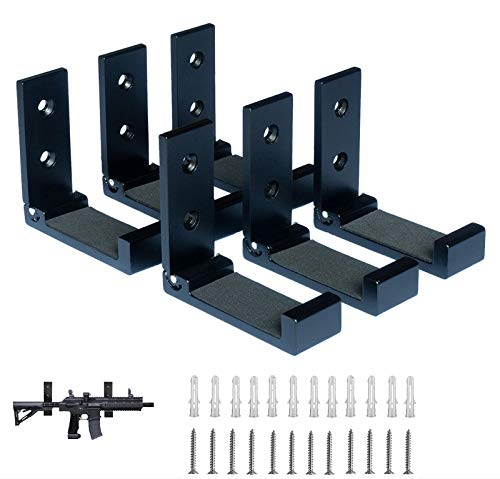 Shotgun Rack Wall Mount,Folding Wall Gun Rack with Padding,Excellent for Hanging Any Long Gun,Shotgun and Rifle,Sturdy Gun Wall Mount Black 6pcs