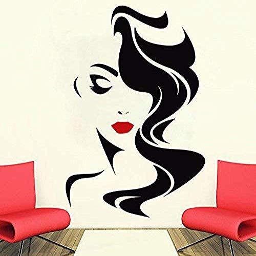 Tatuajes De Pared Salón De Belleza Para Labios Rojos De Señora Pegatina De Vinilo Decoración Para El Hogar Peinado De Peluquería Peinado Peinados Barberos Vinilo Para Ventana 57X85Cm