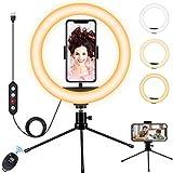 Fostoy Ring Light, Anillo de Luz para Selfies con Trípode Versátil y Soporte para Teléfono, con 3 Colores y 10 Niveles de Brillo para Videos de Youtube, Tiktok, Maquillaje (10inch)