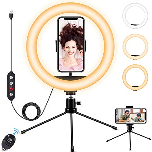 Fostoy LED Ring Light, Luce ad Anello per Selfie con Treppiede Versatile e Supporto per Telefono, con 3 Colori e 10 Livelli di Luminosità per Video Youtube,TIK Tok, Trucco, Streaming live (10inch)