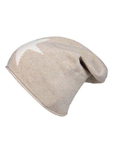 Cashmere Dreams Slouch-Beanie-Mütze mit Kaschmir - Hochwertige Strickmütze für Damen Mädchen - Stern - Hat - One Size - Sommer Herbst und Winter Zwillingsherz (hbg/weiß)