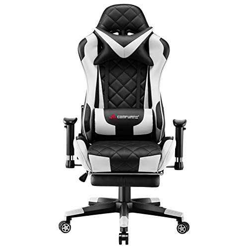 JL Comfurni Gaming Chair Racing Computer Chair Office Desk Chair High-Back Gaming Recliner with Footrest Ergonomic Video Chair for adults PU Leather Swivel E-sports Chair White