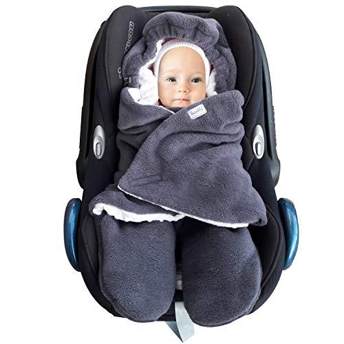 SWADDYL ® Fußsack Einschlagdecke I Baby Wintersack I Babydecke für Babyschale, Kinderwagen - für Winter aus Fleece (Dunkelgrau-Grau)