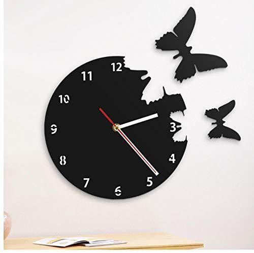 ZYZYY Reloj de pared hermoso de la silueta de las mariposas de la mosca que voló lejos reloj personalizado reloj moderno de losse dieren del cuarzo silencioso Reloj