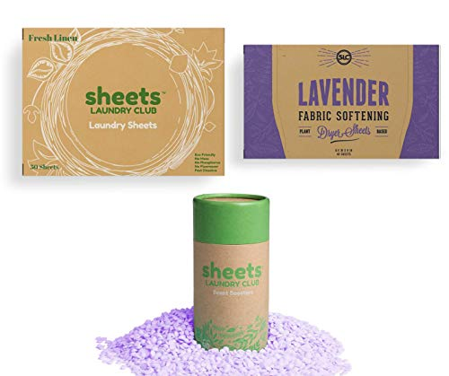 One Month Laundry Detergent Sheets Fabric Softener Dryer Sheets Liquid Free 50 Loads Plastic Free Fresh Scent Booster Great On Workout Clothes (1 Fresh Linen, 1 Lavender SB, 1 Lavender DS)