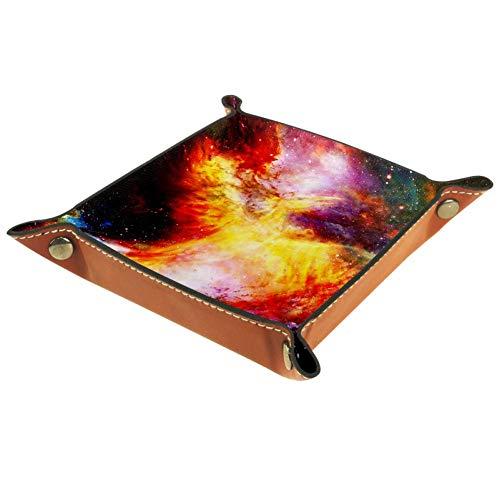 TIKISMILE - Bandeja de almacenamiento con diseño de pájaro en el espacio cósmico para vestir, mesa de escritorio, caja de almacenamiento para llaves, monedas, joyas, teléfono de papelería para el hogar
