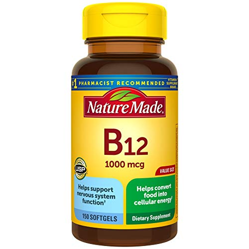 Nature Made Vitamin B12 1000 mcg Softgels, 150 Count Value Size for Metabolic Health