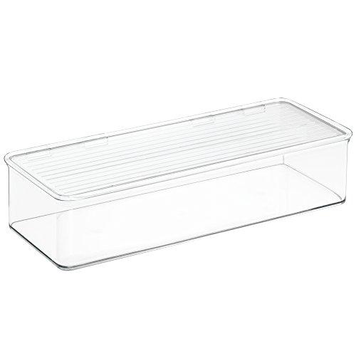InterDesign Cabinet/Kitchen Binz Aufbewahrungsbox, stapelbarer Küchen Organizer aus Kunststoff, Vorratsdose mit Deckel, durchsichtig