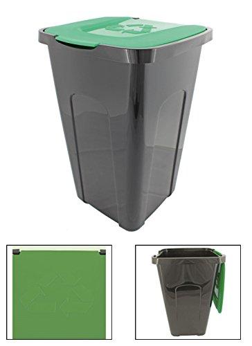 Abfalleimer Mülleimer Recyclingtonne XL schwarz mit farbigem Deckel 50 Liter 1 Stück, Farbe:Grün