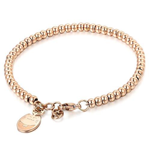 JewelryWe Schmuck Charme Damen Kugel Perlen Armband,Handgelenk Kugel Perlenkette mit Lucky Cat Katze Anhänger, Edelstahl Armreif, Rosegold