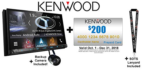 """Sound of Tri-State Kenwood DNX875S 6.95"""" WVGA Navigation/DVD Receiver with Apple CarPlay and Android Auto with Backup Camera Included and a SOTS Lanyard"""