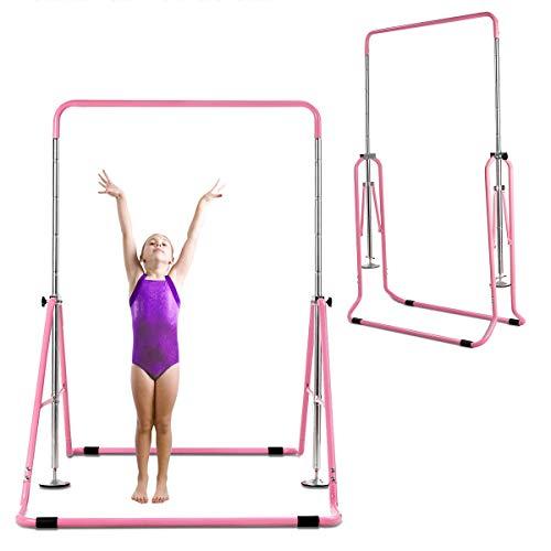 COSTWAY Expandable Gymnastics Bar, 90-142cm Height Adjustable Horizontal Kip...