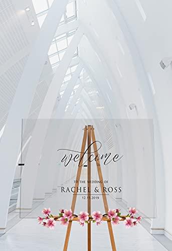 Yilooom Panneau de bienvenue moderne en acrylique transparent, panneau de bienvenue de mariage, panneau de bienvenue personnalisé, décoration de mariage en acrylique 50,8 x 71,1 cm