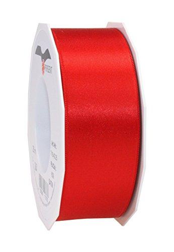 C.E. Pattberg Satin Rouge, Rouleau de 25 m de Ruban Satinée pour Emballage Cadeau, Largeur 40 mm, Accessoire de Décoration et Bricolage, Ruban Décoratif pour Présents, en Toute Occasion