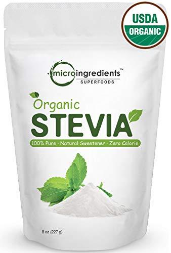 Pure Organic Stevia Powder, 8 Ounces, 1418 Serving, 0 Calorie, Natural Sweetener, Sugar Alternative, Premium Stevia for Keto Diet, No GMOs and Vegan Friendly