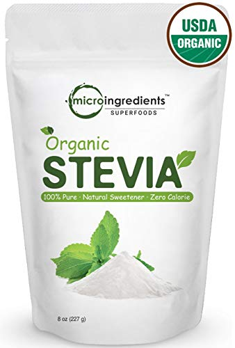 Pure Organic Stevia Powder, 8 Ounces, 1418 Serving, 0 Calorie, Natural Sweetener, Sugar Alternative, Premium Stevia for Keto Diet, No GMOs and Vegan Friendly