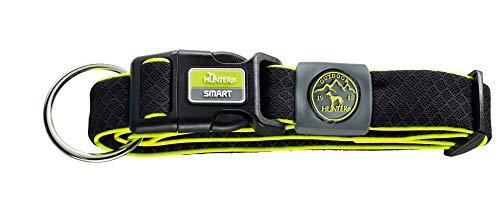 HUNTER MAUI VARIO PLUS Hundehalsung, Hundehalsband mit Zugentlastung, Mesh-Material, weich, leicht, robust, L-XL, schwarz