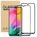 Samsung Galaxy A20 Screen Protector, Samsung Galaxy A20 Tempered Glass, Hardness 9H, 2-Pack HD transparent (Transparent + black border)