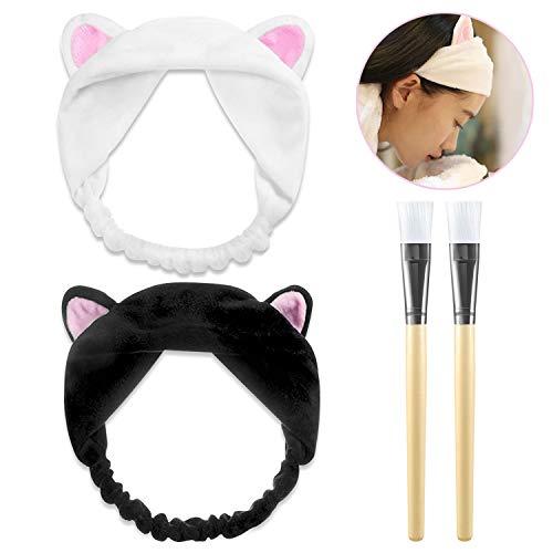 PAMIYO 2 Stücke Maske Kosmetik Pinsel Gesichtsmaske Pinsel Bürste + 2 Stücke Haarbänder Mit Katze Ohr Weiß Und Schwarz Schminken Werkzeug Set für Gesicht Waschen Make up