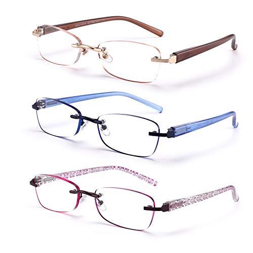 FEIVSN 3-Pack Rimless Reading Glasses For Women, Lightweight Spring Hinge Readers, Classic Elegant Artistic Eyeglasses UV 400 (Mix 2.0 Etc)