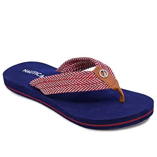 Nautica Women's Sandals, Flip Flop, Slipper Slide-White Dune 1-Red Herringbone-8