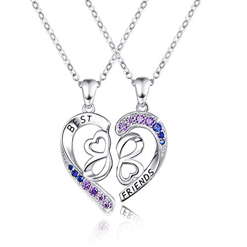 jovivi friends necklace for 2 silvers Best Friend Necklace for 2 Set, 925 Sterling Silver BFF Half Heart Pendant, Best Friend Engraving with Blue Purple Graduated Rhinestone, Sister Necklace Set Jewelry Birthday Valentine Gift for Women Daughter BFF Sisters