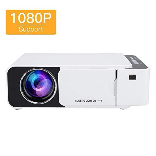 Mini draagbare projector, 1080P 30.000 uur LED-lamp levensduur 170-inch scherm ondersteunt USB / AV / AC / HDMI / VGA slimme huishoudelijke projector voor thuisbioscoop, kantoor (spiegelen van mobiele telefoons)
