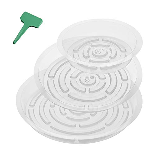 GROWNEER 15 Packs Clear Plant Saucer Drip Trays, with 15 Pcs Plant Labels, Plastic Plant Pot Saucers Flower Pot Set for Indoor Outdoor Garden, Assorted Sizes 6/8/10 Inch, 5 Pcs of Each Size