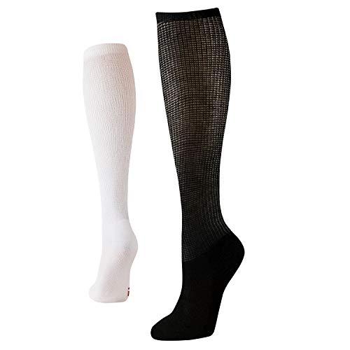 +MD Set van 4 extra brede, niet-bindende diabetische en circulatoire bamboe sokken voor dames met zachte zool 2Black2White9-11