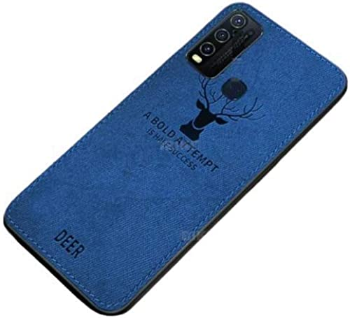 Addindia Ultra Thin Matte Leather Back Case Air Cushion Silicone Soft Edge Shockproof Full Body Protective Cover For Vivo Y30 Blue Deer