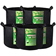 VIVOSUN 5-Pack 10 Gallons Heavy Duty Thickened Nonwoven Fabric Pots Grow Bags with Handles