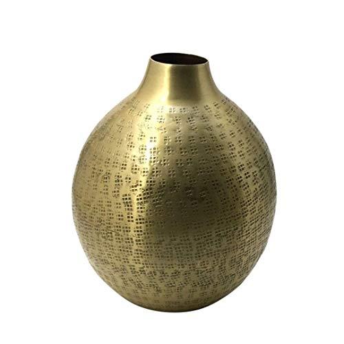 LaLe Living Florero DAMLA en color dorado antiguo con superficie martillada de aluminio Ø21 x H25 cm, decoración de mesa marroquí o florero para salón, comedor y cocina