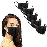 KUNSTIFY 5 pezzi mascherina nera tessuto protezione bocca viso | lavabile riutilizzabile in cotone nero protezione bocca uomo donna mascherine bambini antigoccia Maschera nera black face mask