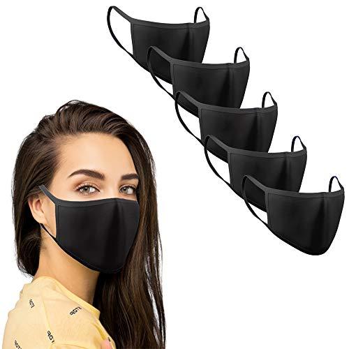 KUNSTIFY 5 pezzi mascherina nera tessuto protezione bocca...