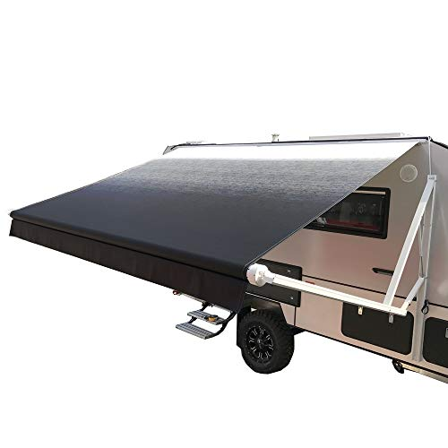 ALEKO Motorized Retractable RV Trailer Awning for Home or Camper- 12x8 Ft - Black Fade
