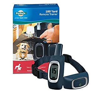 PetSafe Remote Trainer Dog Training Collar – 3 Training Modes: Tone, Vibration, 15 Levels of Static Stimulation, Standard for Dogs over 8lb+ – Waterproof, Durable, Rechargeable – 100 Yards (300 Feet)