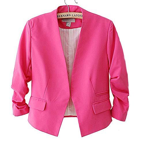 HOSD Chaqueta de Mujer de Moda Estilo Coreano Color Caramelo Traje Delgado sólido Ninguno Botón Rosa Rojo M