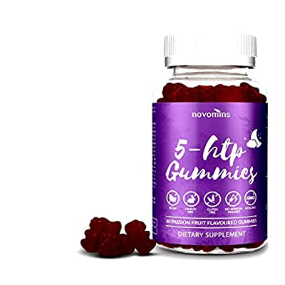 5 HTP Gummies Enhanced with Valerian Root - 60 Passionfruit Gummies Alternative to 5HTP Capsules Pills - Enhanced 5HTP Supplement for Serotonin Boost, Mood and Sleep Support