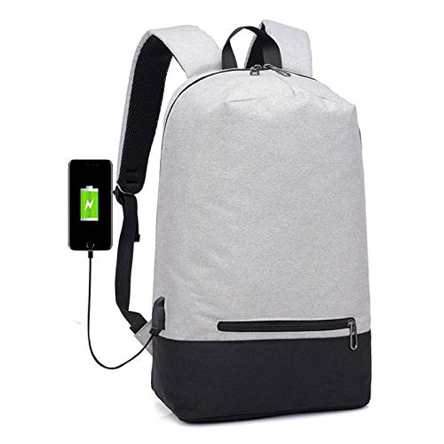 BDLEZI Outdoor travel backpack hit color large capacity fashion backpack laptop backpack male and female college students schoolbag (Color : Shallow Grey)