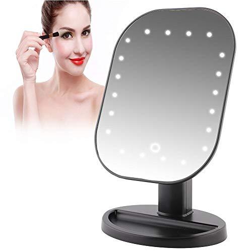 Espejo de Aumento de 10x con Pantalla Táctil, Espejo de Aumento con 20 Luces LED para Cargar la Batería o Alimentación Directa USB