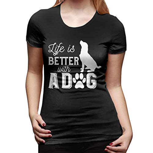 Life is Better with A Dog Womens Short Sleeve T Shirt Tees Sport Summer(Small,Black)