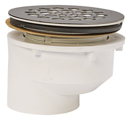 Plastic Oddities PFG610 Offset Fiberglass Shower Stall Drain with Stainless Steel Strainer/Coarse Threads