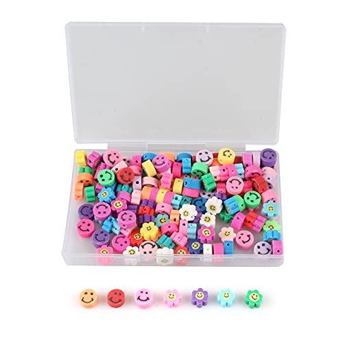 Zeayebsr Cuentas de sonrisa, Abalorios para hacer pulseras, Perlas para collares,Perlas de arcilla polimérica de mezcla de colores, Joyería hecha a mano, 10 mm 150 cuentas Emoji para hacer pulseras