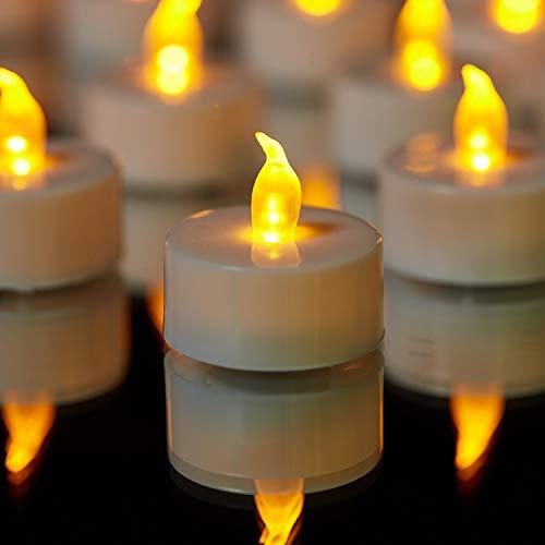 YIWER Lot de 50 bougies LED Bougies CR2032 piles Bougies Unscented Bougie chauffe-plat sans flamme claire vacillante 100 + heures de lumière électrique