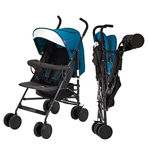 Kinbor Lightweight Infant Umbrella Stroller with Compact Fold, Large Storage Basket and Adjustable Backrest/Footrest/Canopy
