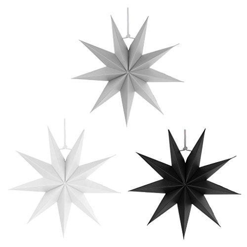 Sharplace Faltsterne, 30 cm 9 Zacken Weihnachtsstern Papiersterne Setfür Weihnachtsbaum Christmasbaum - Weiß grau Schwarz, 3 Stück