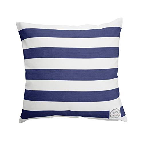 Krasilnikoff - Kissenbezug, Kissenhülle, Kissen Mega Stripe - Blau, Weiß - Baumwolle - 50 x 50 cm